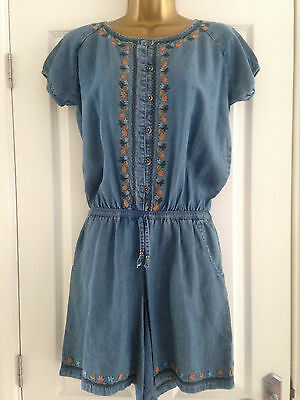 BNWT NEXT Girls Blue Denim Embroidered Playsuit Age 15 Years