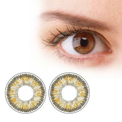 1 Pair Contact Lenses Color Soft Big Eye UV Protection Cosmetic Lens Brown AM