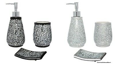3 Piece Ceramic Glitter Sparkle Mosaic Bathroom Accessory Set - Black/Silver