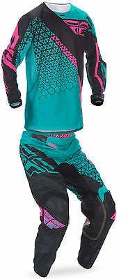 Fly Teal/Pink/Black Mens Youth Kinetic Mesh Trifecta Dirt Bike Jersey Pant