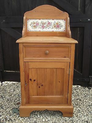 Antique pine washstand  with floral tile inlay shabby chic very pretty