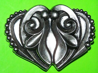 """""""washed Up"""" Of Hollywood 3-3/4"""" Silver-Tone Metal Decorative Heart Belt Buckle"""