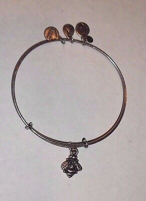 Authentic ALEX AND ANI BUMBLEBEE Russian Silver Finish Charm Bangle Bracelet