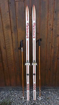 "VINTAGE Wooden 73"" Skis Signed TELEMARK with RED WHITE Finish"