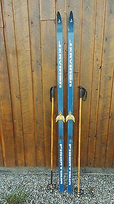 """VINTAGE Wooden 79"""" Skis Signed JARVINEN with BLUE WHITE Finish"""