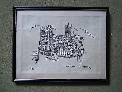 Vintage 1940's Embroidery.Embroidered Panel of Canterbury Cathedral.By FMG 1941.