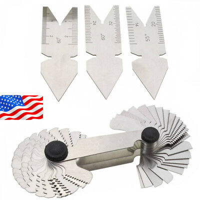 4Pcs Screw Thread Pitch Cutting Gauge Tool Centre Gage 55°&60° Inch NEW