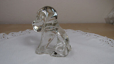 Vintage Clear Glass Candy Container Sitting Dog