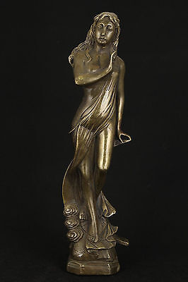 Noble Chinese Old Bronze Collectable Handwork Carved Belle Statue Figure