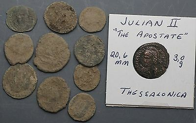 Lot  10 ANCIENT ROMAN COINS Uncleaned & 1 cleaned & I.D. Julian II coin