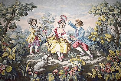 Large Antique Belgian Tapestry Wall Hanging,vintage tapestry,vintage fabric,