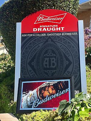 "Budweiser King Of Beer Bar Man Cave  Pub Big Wall Chalkboard And Mirror ""New"""