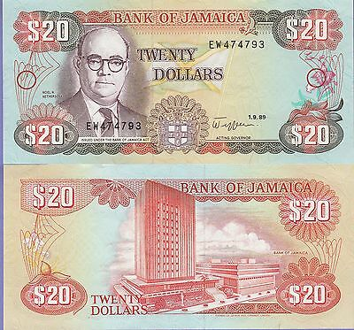 Jamaica 20 Dollars Banknote 1.9.1989 About Uncirculated Condition Cat#72-C-4793