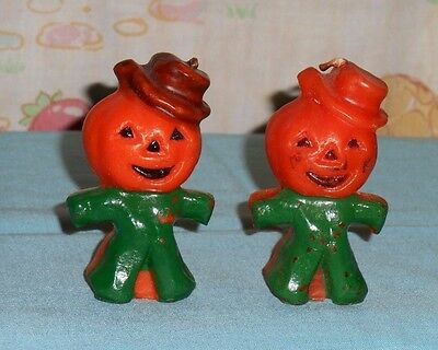 vintage Halloween GURLEY CANDLE LOT x2 scarecrow jack-o-lantern man green w/hat