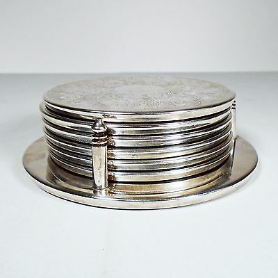6 Silver Plated Coaster Set Metal Round Leaf Vine Pattern with Holder