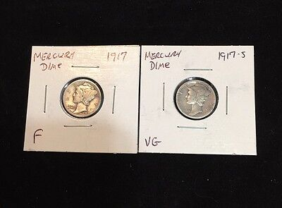 1917-P AND 1917-S US Silver Mercury Dimes