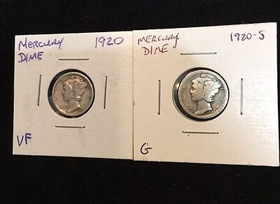 1920-P AND 1920-S US Silver Mercury Dimes