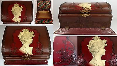 """11 5/8"""" Antique Victorian Celluloid Woman Lady & Lions Dresser Jewelry Large Box"""