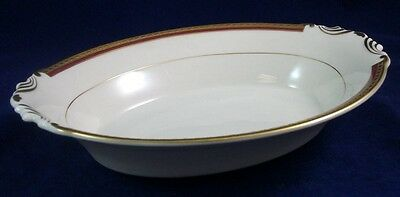 "Syracuse WAYNE MAROON BAND Oval Vegetable Bowl 10 3/8"" length GREAT VALUE"
