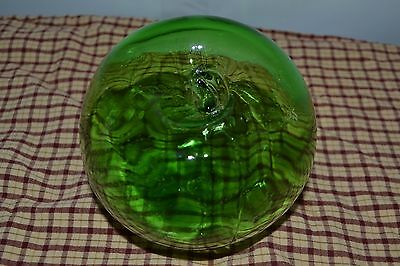 Vintage Antique Japanese Green Glass Fishing Net Float Ball Nautical Old