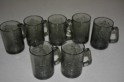 Vintage Lot Of 7 Gray Mcdonalds Glass Glasses All The Characters Playing Sports