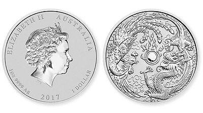 2017 Australia 1 oz Silver Dragon & Phoenix (fresh from mint roll, 50K mintage)