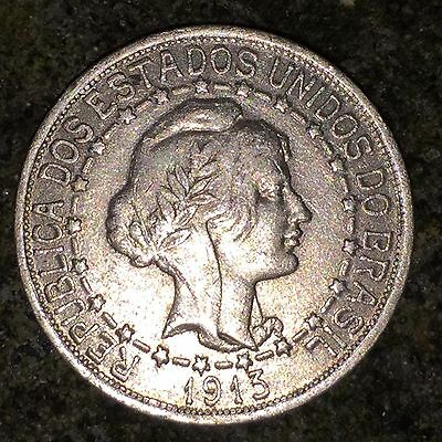 Brazil 1000 Reis 1913 - XF, Dashes Between Stars (Scarcer), 1 Year, Silver