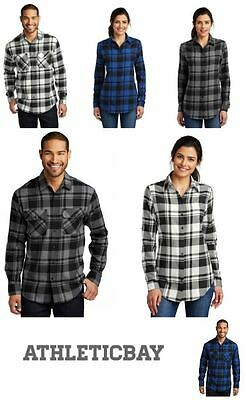 NEW Plaid Flannel Long Sleeve Button Front Shirt 2 Pockets Men's or Ladies XS-4X