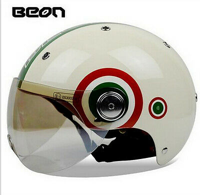 Helmet New Vintage Scooter Motorcycle Beon Italian Flag Counterpart Ce Dot