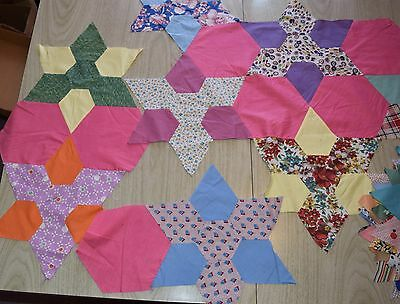 32 1930-40s quilt blocks, large Texas Star, bright colors, solids
