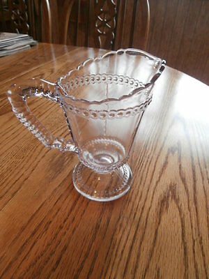 Vintage Glass Pitcher Flint 5-1/2 inches high scalloped edges
