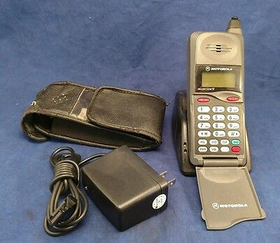 Vintage Motorola Cell Phone MicroTAC / 650 E with charge cord, Case, and base