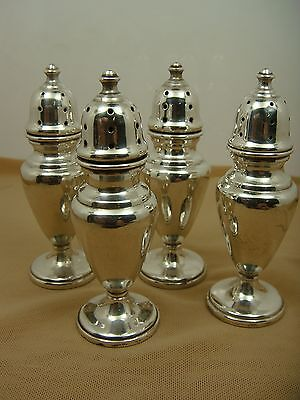 Set of Four Fred Hirsch Salt and Pepper Shakers - Sterling Silver - Vintage