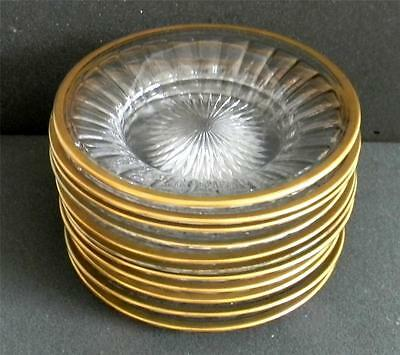 Set of eleven elegant Heisey clear glass plates with gold rim - FREE SHIPPING