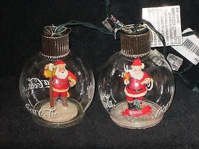 Coke Coca-Cola Christmas Ornaments Lot 1 Bottle Looking Light up Working Santa