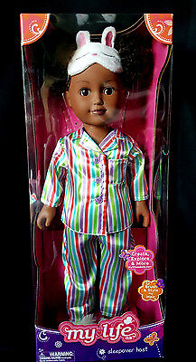 "NEW In Box MY LIFE AS Sleepover Host African American Poseable 18"" DOLL"
