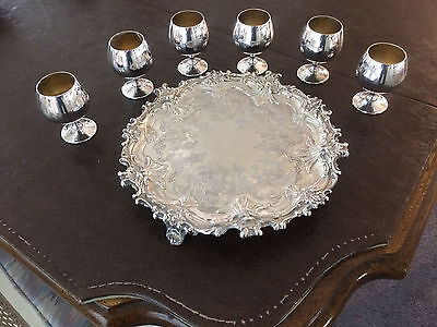 Set of 6 Sheridan Silverplate cordial mini goblets with serving tray