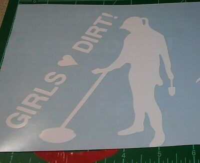 TWO GIRLs LOVES DIRT metal detecting sticker decal car window outdoor