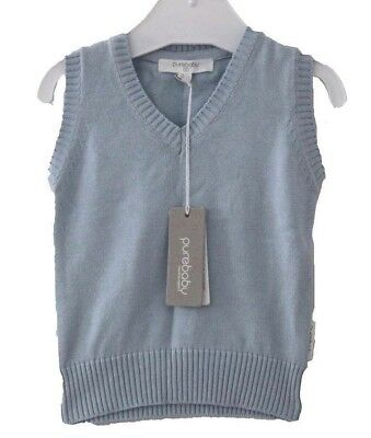 Purebaby Pure Baby Vest 100% Organic Cotton Sweater Clothes Sz 000 New Gift