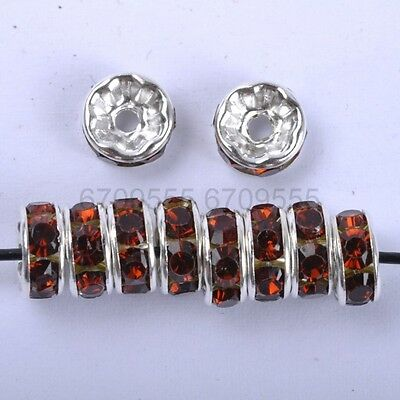 100Pcs Coffee Czech Crystal Rhinestone Plated Spacer Beads 7MM
