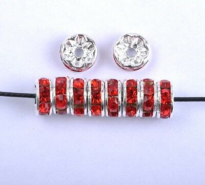 100Pcs Red Czech Crystal Rhinestone Plated Spacer Beads 8MM