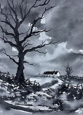 Original Watercolour Painting by Bill Lupton  - Cottage Under a Cloudy Sky