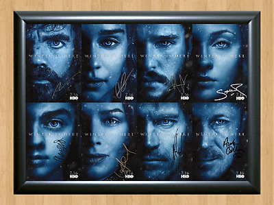 Game of Thrones Season 7 Cast x8 Signed Autographed A4 Photo Poster Memorabilia