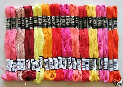 Embroidery Twist Yarn @RED - YELLOW - ORANGE@ 24x Cotton 100%