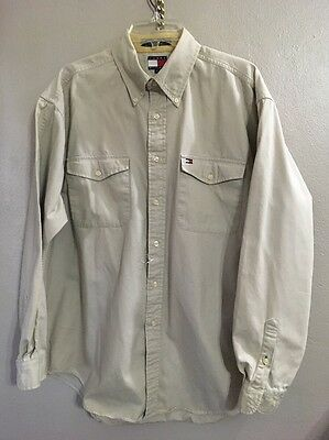 TOMMY HILFIGER KHAKI LONG SLEEVE men's Shirt SIZE Large NWOT