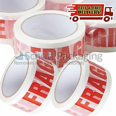12 Rolls of LOW NOISE HANDLE WITH CARE FRAGILE Packing Tape - 48mm x 66M STRONG