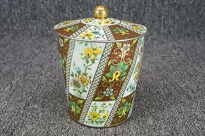 "Vintage Ornate Tin Canister/Container W/ Lid 6 5/8"" Floral Made In England"