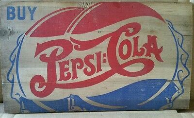NICE OLD WOODEN DOUBLE DOT PEPSI COLA SIGN 10 by 17 inches