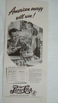 Vintage Pepsi WWII Ad 1940s Double Dot