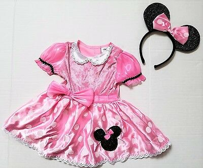 Disney Minnie Mouse Pink Polka Dot Dress Up Costume Infant Girl Size 12 24 month